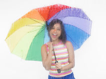 Asian woman with her umbrella Royalty Free Stock Photo
