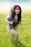 Asian woman hiking alone Stock Photography