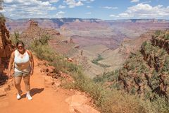 Woman hiking on the Bright Angel Trail Royalty Free Stock Photography