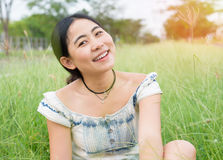Asian woman hipster happy portrait. Solo travel Royalty Free Stock Photography
