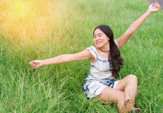 Asian woman hipster happy portrait. Solo travel Royalty Free Stock Images