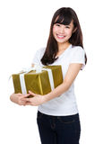 Asian woman hold with big present box Royalty Free Stock Photography