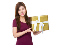 Asian woman hold with big present box Stock Photography
