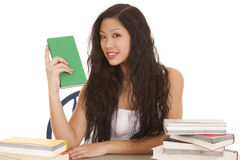 Asian woman hold book smile Royalty Free Stock Photo
