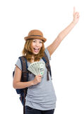 Asian woman hold with cash and hand up Stock Images