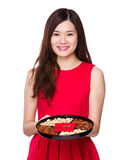 Asian woman hold chinese snack box Royalty Free Stock Image