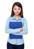 Asian woman hold clipboard Stock Images