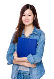 Asian Woman hold with clipboard Royalty Free Stock Image