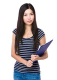 Asian woman hold with clipboard Stock Photos