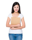 Asian woman hold with clipboard Royalty Free Stock Photo