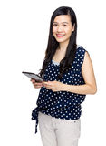 Asian woman hold with digital tablet Stock Photos
