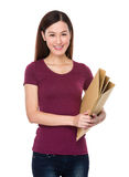 Asian woman hold with folder Royalty Free Stock Images