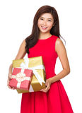 Asian Woman hold with gift box Stock Photo