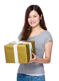 Asian Woman hold with giftbox Royalty Free Stock Photo