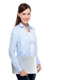 Asian woman hold with laptop computer Stock Photos