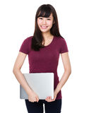 Asian woman hold with laptop computer Royalty Free Stock Image