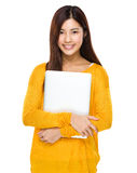 Asian Woman hold with laptop Stock Photo