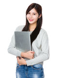 Asian woman hold with laptop Stock Image