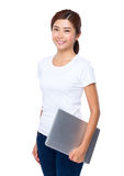 Asian Woman hold with notebook computer Royalty Free Stock Photography
