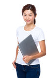 Asian Woman hold with portable computer Royalty Free Stock Photo