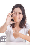 Asian woman hold raw egg Stock Photo