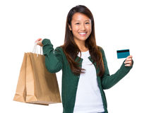 Asian woman hold with shopping bag and credit card Stock Photos