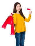 Asian woman hold with shopping bag and credit card Stock Image