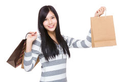 Asian woman hold with shopping bag Stock Photos