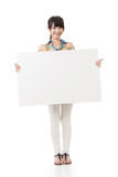 Asian woman holding blank gray board Royalty Free Stock Images