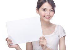 Asian woman holding blank sign Royalty Free Stock Image