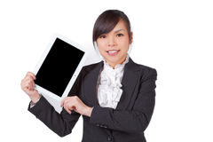 Asian woman holding board , black screen for texture Royalty Free Stock Photo