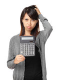 Asian woman holding calculator Royalty Free Stock Images