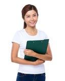 Asian woman holding clipboard Stock Photos