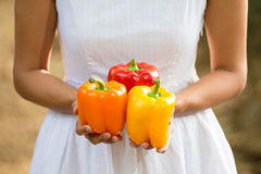 Asian woman holding a colorful bell peppers Royalty Free Stock Image