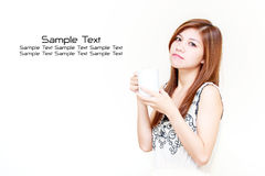 Asian woman holding a cup concept Royalty Free Stock Photography