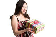 Asian woman holding a gift box Stock Images
