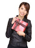 Asian woman holding gift box Stock Images