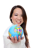 Asian Woman Holding Globe royalty free stock photography