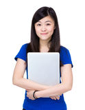 Asian woman holding with laptop. Isolated on white royalty free stock images