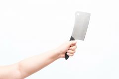 Asian woman holding large knife Royalty Free Stock Photo