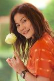 Asian woman holding lotus flower Stock Photos