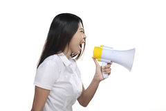 Asian Woman Holding Megaphone Royalty Free Stock Photo