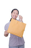 Asian woman holding paper bag Stock Photography