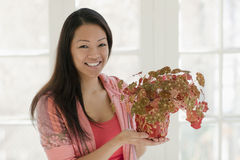 Asian woman holding a potted plant Royalty Free Stock Image