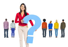 Asian Woman Holding Question Mark Stock Photography