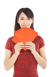 Asian woman holding red bag Royalty Free Stock Photos