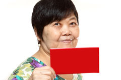 Asian woman holding a red card Stock Photography