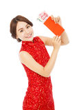 Asian woman holding a red envelope  for happy chinese new year Stock Photo