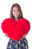 Asian woman holding a red heart Royalty Free Stock Image