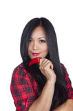 Asian Woman holding red pepper Stock Photo